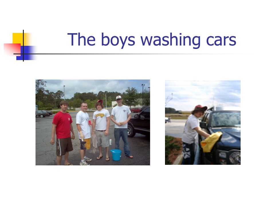 The boys washing cars
