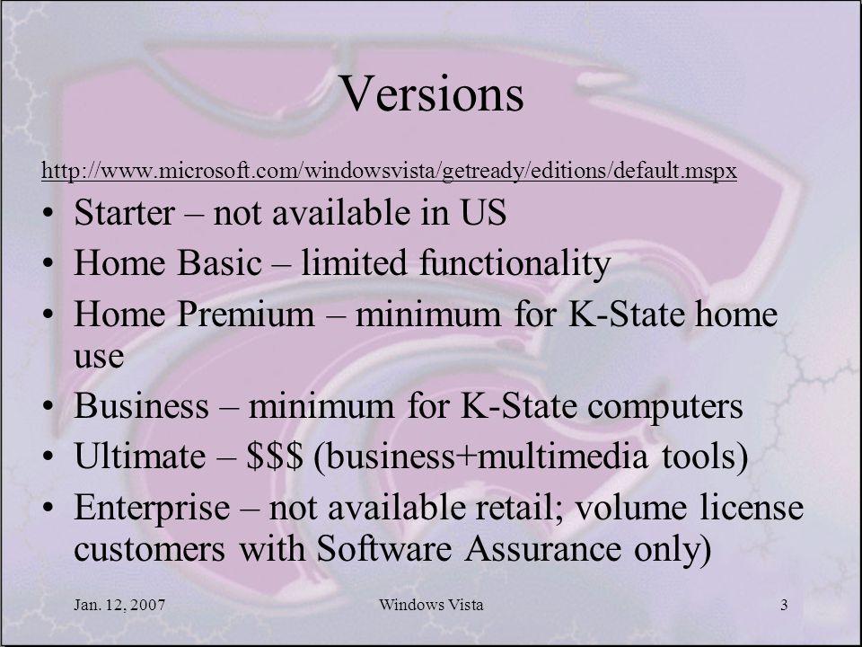 Jan. 12, 2007Windows Vista3 Versions http://www.microsoft.com/windowsvista/getready/editions/default.mspx Starter – not available in US Home Basic – l