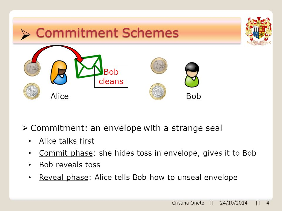  Commitment Schemes AliceBob  Commitment: an envelope with a strange seal Alice talks first Commit phase: she hides toss in envelope, gives it to Bob Reveal phase: Alice tells Bob how to unseal envelope Bob reveals toss Bob cleans Cristina Onete || 24/10/2014 || 4