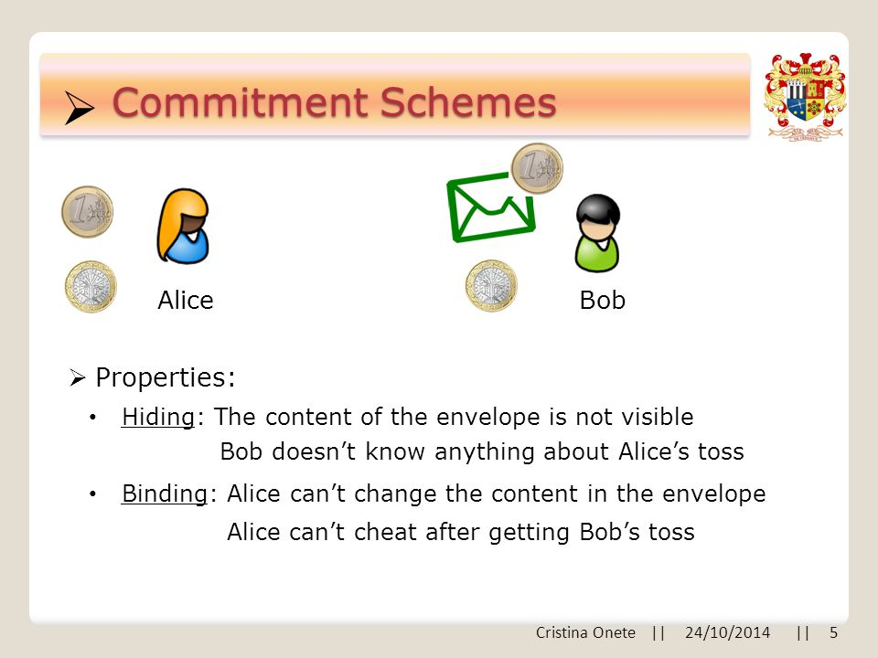  Commitment Schemes AliceBob  Properties: Hiding: The content of the envelope is not visible Bob doesn't know anything about Alice's toss Binding: Alice can't change the content in the envelope Alice can't cheat after getting Bob's toss Cristina Onete || 24/10/2014 || 5