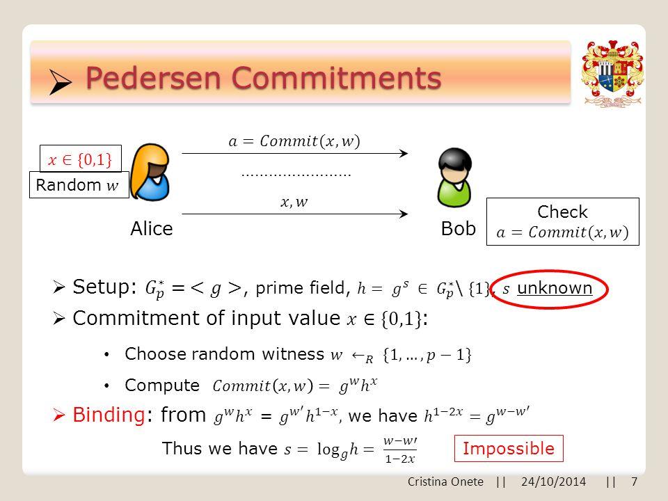  Pedersen Commitments AliceBob …………………… Impossible Cristina Onete || 24/10/2014 || 7