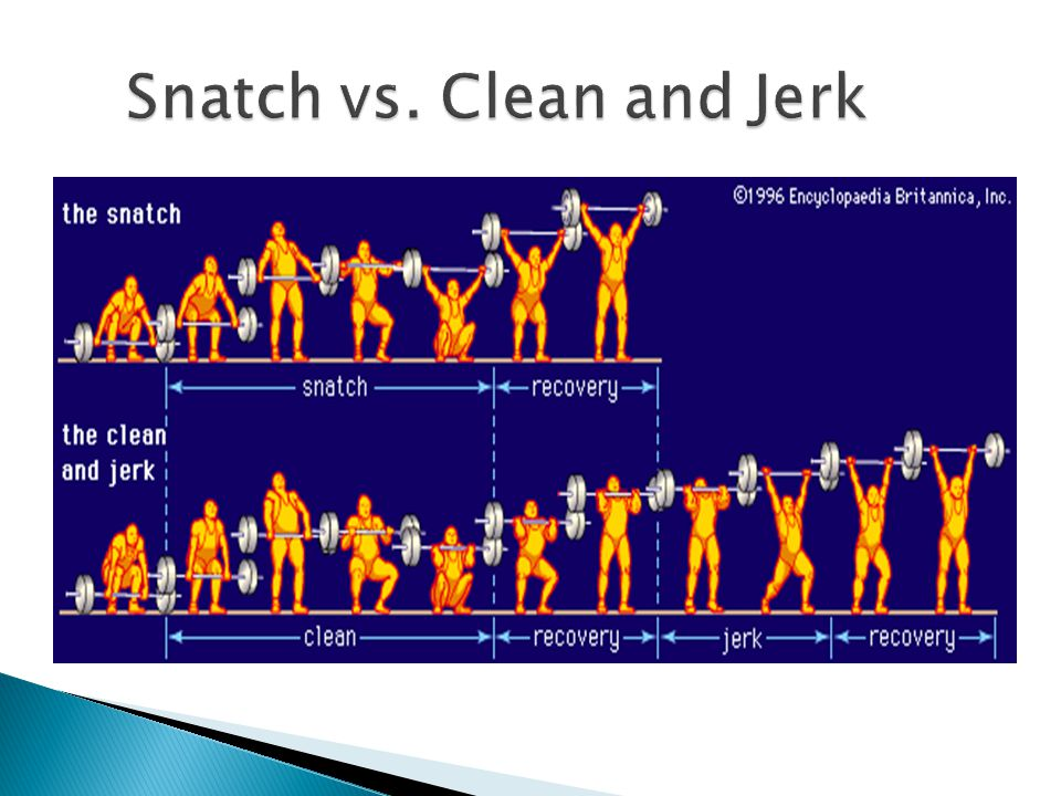  A variant of the Clean and Jerk, it begins with the barbell off the ground and arms hanging down, then, the bar is lifted to the clean position  Let's see how to correctly demonstrate… Let's see how to correctly demonstrate… 2 Types: StaticStatic (stationary, still) DynamicDynamic (rocking motion)