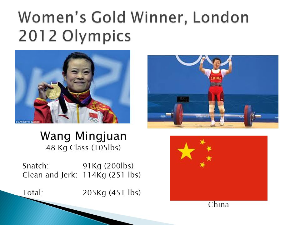 Wang Mingjuan 48 Kg Class (105lbs) Snatch: 91Kg (200lbs) Clean and Jerk:114Kg (251 lbs) Total:205Kg (451 lbs) China