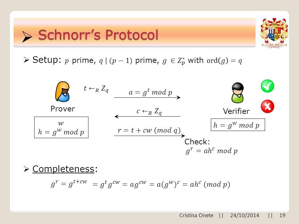  Schnorr's Protocol Prover Verifier  Completeness: Cristina Onete    24/10/2014    19