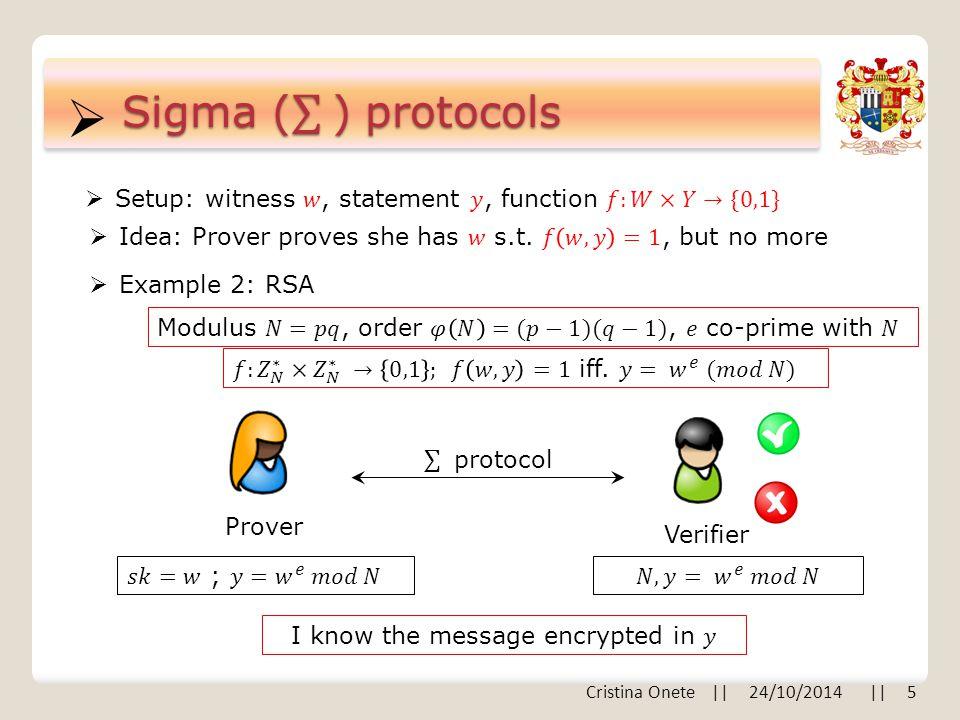  Prover Verifier  Example 2: RSA Cristina Onete    24/10/2014    5