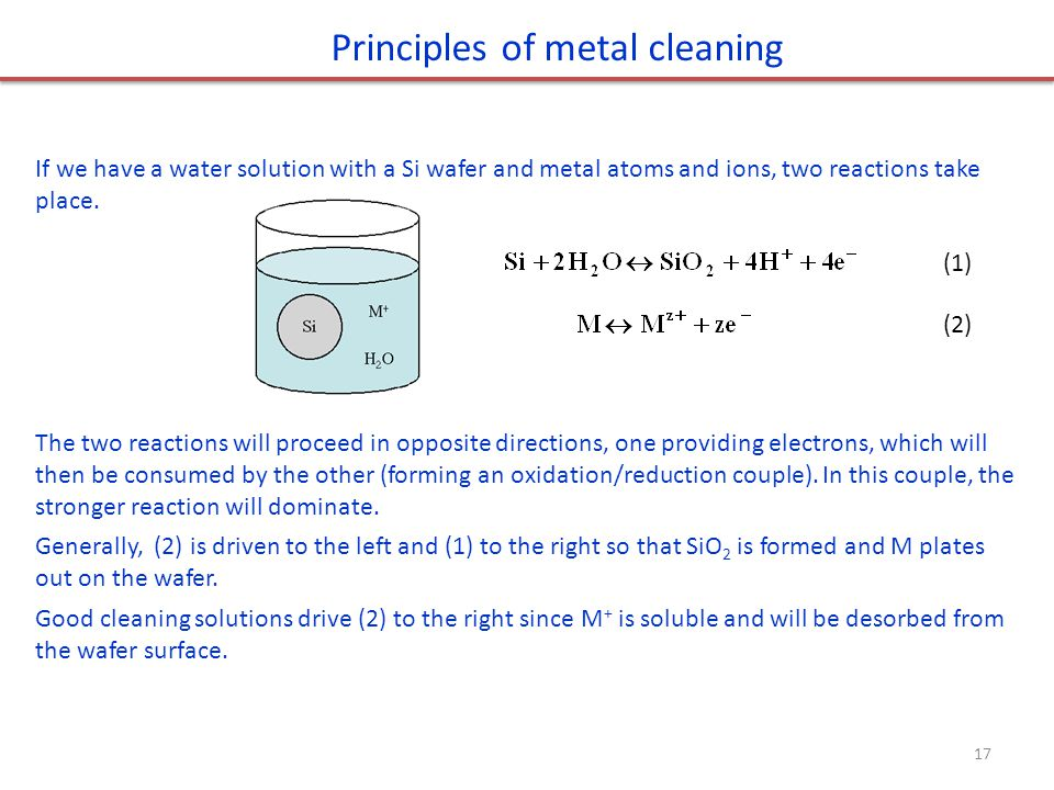 (1) (2) Principles of metal cleaning If we have a water solution with a Si wafer and metal atoms and ions, two reactions take place. The two reactions