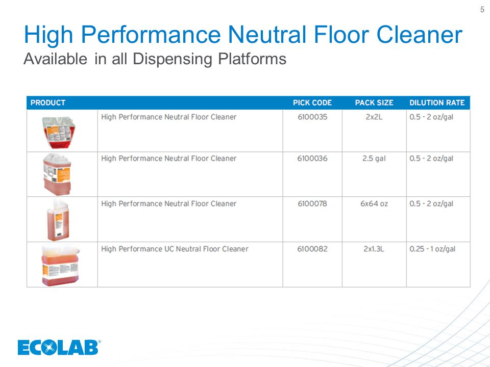 5 High Performance Neutral Floor Cleaner Available in all Dispensing Platforms