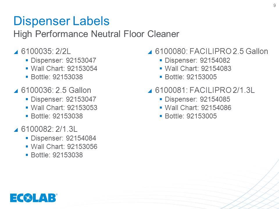 9 Dispenser Labels High Performance Neutral Floor Cleaner  6100035: 2/2L  Dispenser: 92153047  Wall Chart: 92153054  Bottle: 92153038  6100036: 2.5 Gallon  Dispenser: 92153047  Wall Chart: 92153053  Bottle: 92153038  6100082: 2/1.3L  Dispenser: 92154084  Wall Chart: 92153056  Bottle: 92153038  6100080: FACILIPRO 2.5 Gallon  Dispenser: 92154082  Wall Chart: 92154083  Bottle: 92153005  6100081: FACILIPRO 2/1.3L  Dispenser: 92154085  Wall Chart: 92154086  Bottle: 92153005