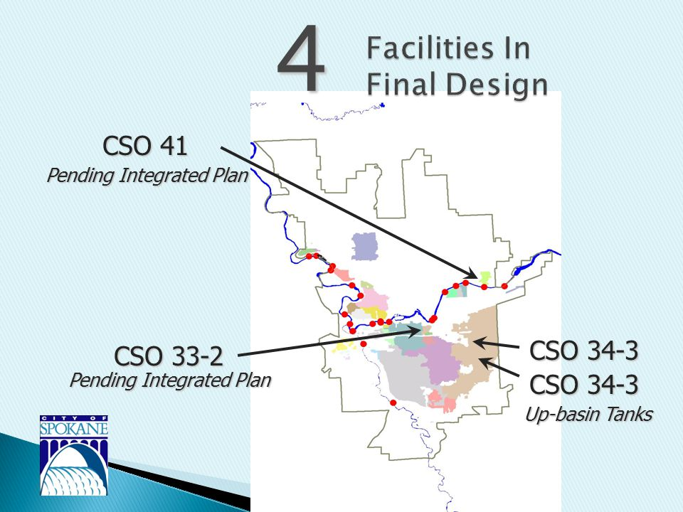 4 CSO 41 CSO 34-3 CSO 33-2 Pending Integrated Plan CSO 34-3 Up-basin Tanks Pending Integrated Plan