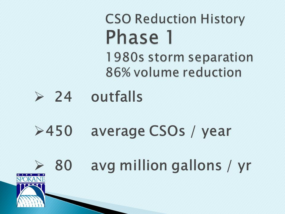  24 outfalls  450 average CSOs / year  80 avg million gallons / yr