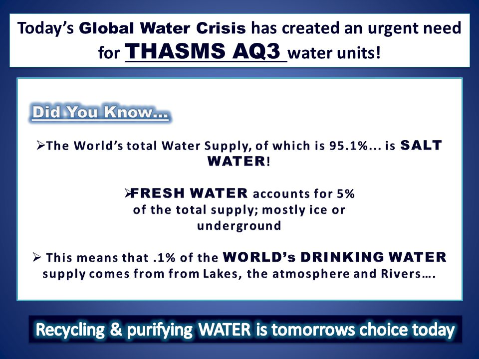 Today's Global Water Crisis has created an urgent need for THASMS AQ3 water units!