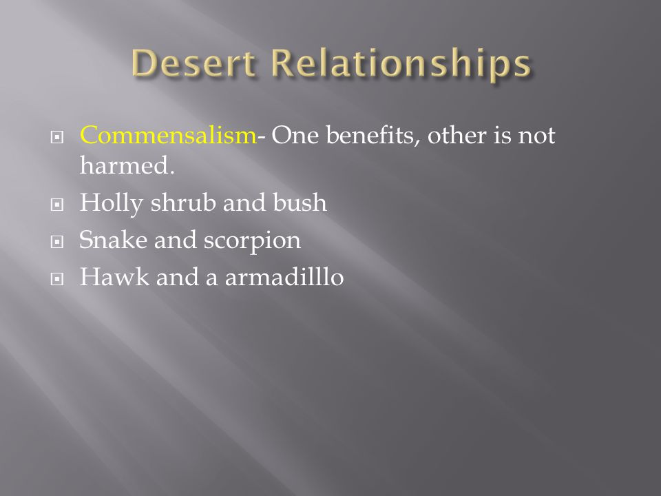  Commensalism- One benefits, other is not harmed.  Holly shrub and bush  Snake and scorpion  Hawk and a armadilllo