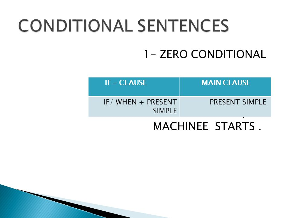 1- ZERO CONDITIONAL IF YOU PRESS THE BUTTON, THE MACHINEE STARTS. MAIN CLAUSE IF – CLAUSE PRESENT SIMPLEIF/ WHEN + PRESENT SIMPLE