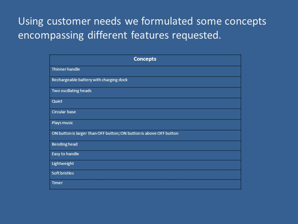 Using customer needs we formulated some concepts encompassing different features requested.