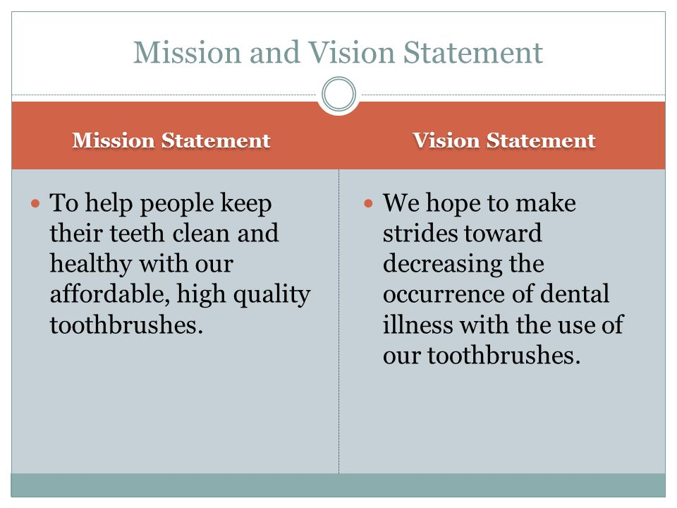 Mission Statement Vision Statement To help people keep their teeth clean and healthy with our affordable, high quality toothbrushes. We hope to make s