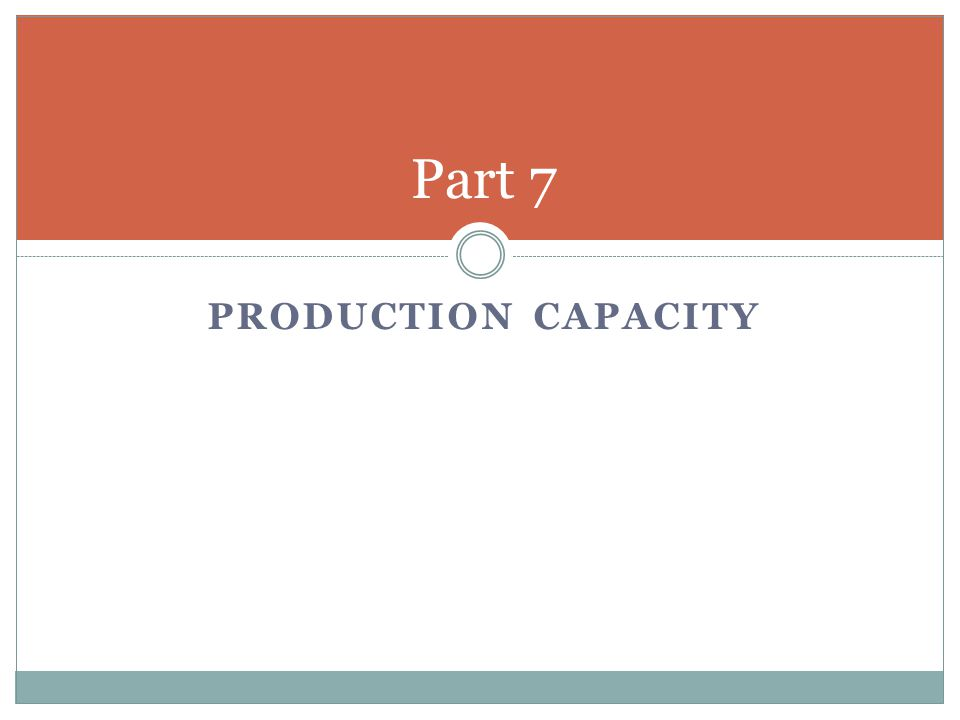 PRODUCTION CAPACITY Part 7