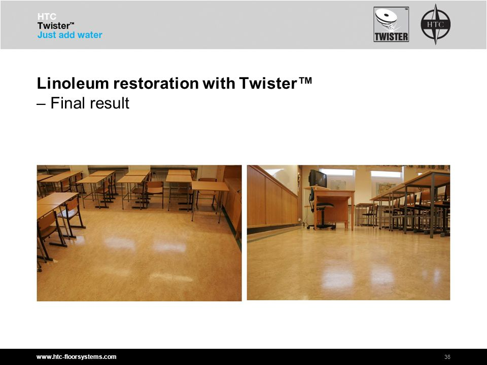 www.htc-floorsystems.com Linoleum restoration with Twister™ – Final result 36