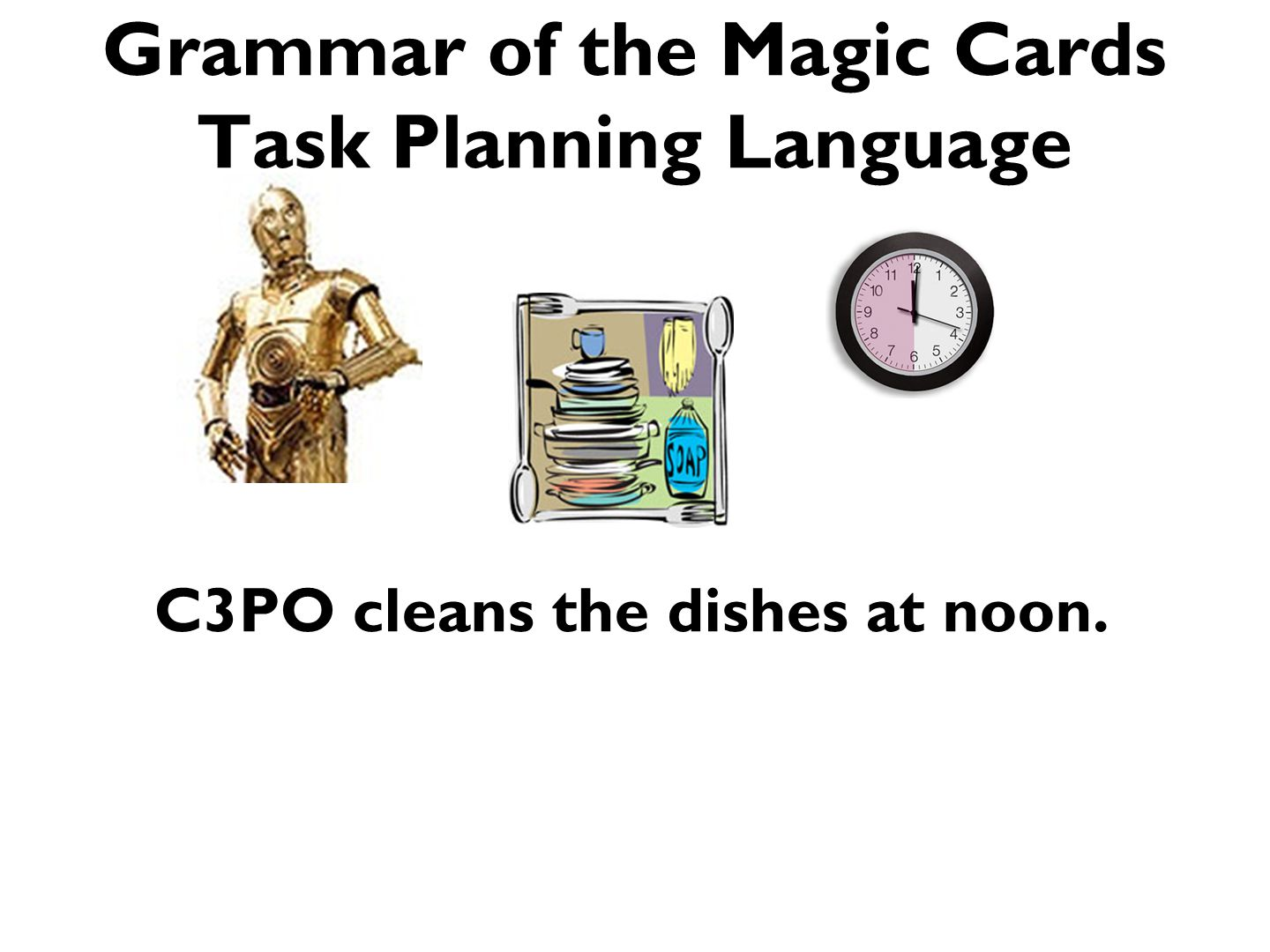 Grammar of the Magic Cards Task Planning Language C3PO cleans the dishes at noon.