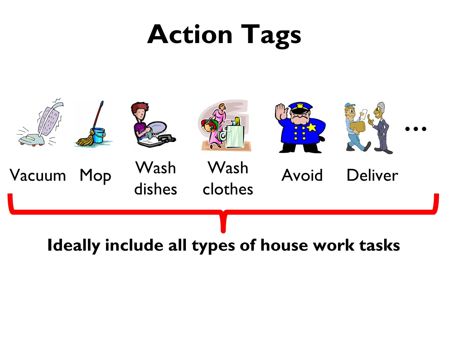 Action Tags VacuumMopDeliver Wash dishes Wash clothes Avoid … Ideally include all types of house work tasks