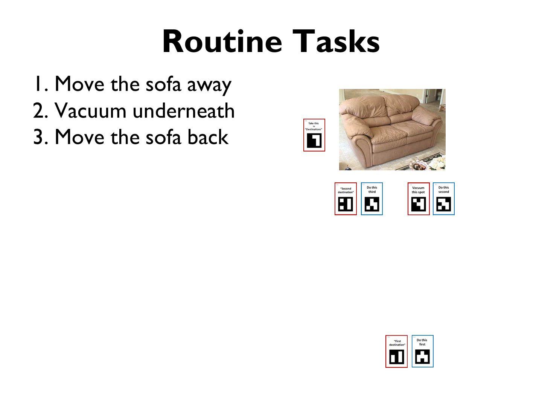 Routine Tasks 1. Move the sofa away 2. Vacuum underneath 3. Move the sofa back