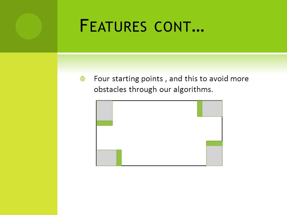 F EATURES CONT …  Four starting points, and this to avoid more obstacles through our algorithms.