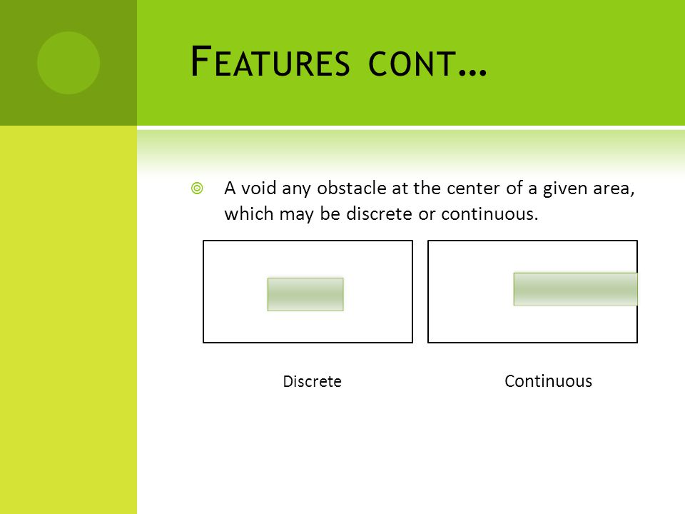 F EATURES CONT …  A void any obstacle at the center of a given area, which may be discrete or continuous.
