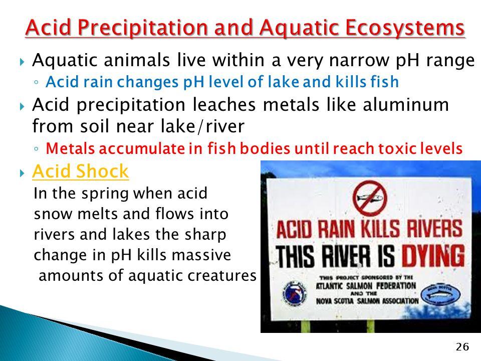  Aquatic animals live within a very narrow pH range ◦ Acid rain changes pH level of lake and kills fish  Acid precipitation leaches metals like alum