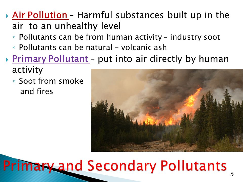  Air Pollution – Harmful substances built up in the air to an unhealthy level ◦ Pollutants can be from human activity – industry soot ◦ Pollutants ca