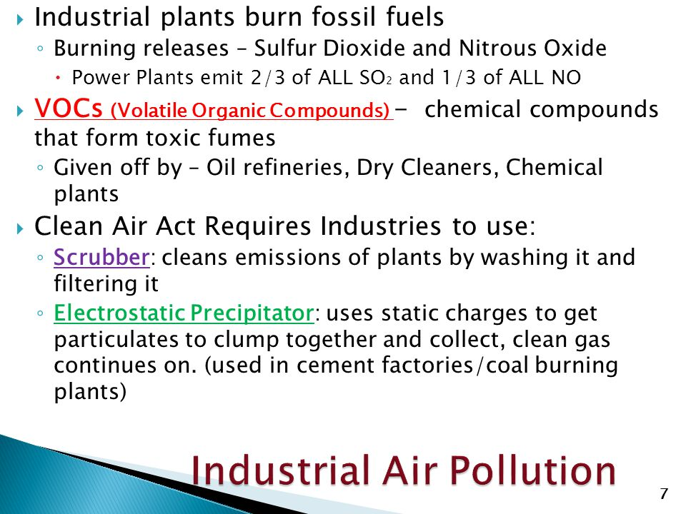  Industrial plants burn fossil fuels ◦ Burning releases – Sulfur Dioxide and Nitrous Oxide  Power Plants emit 2/3 of ALL SO 2 and 1/3 of ALL NO  VO