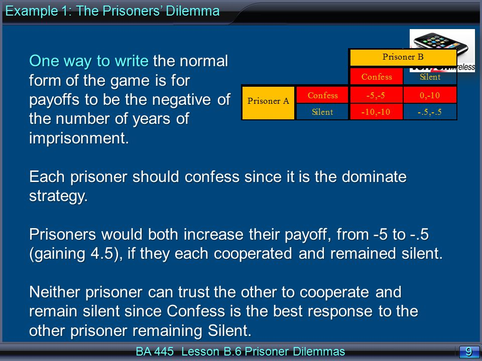 10 BA 445 Lesson B.6 Prisoner Dilemmas Question: Verizon and AT&T control a large share of the U.S.