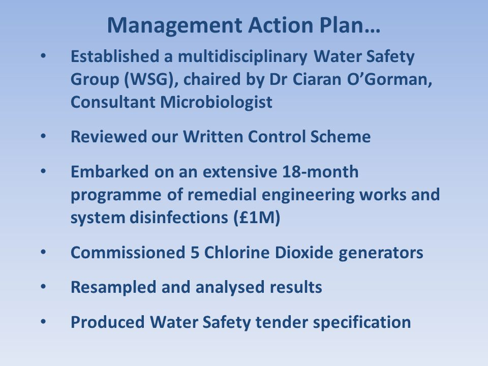 Established a multidisciplinary Water Safety Group (WSG), chaired by Dr Ciaran O'Gorman, Consultant Microbiologist Reviewed our Written Control Scheme
