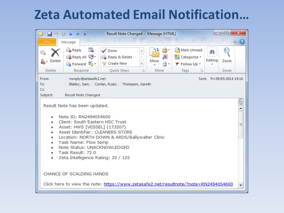 Zeta Automated Email Notification…