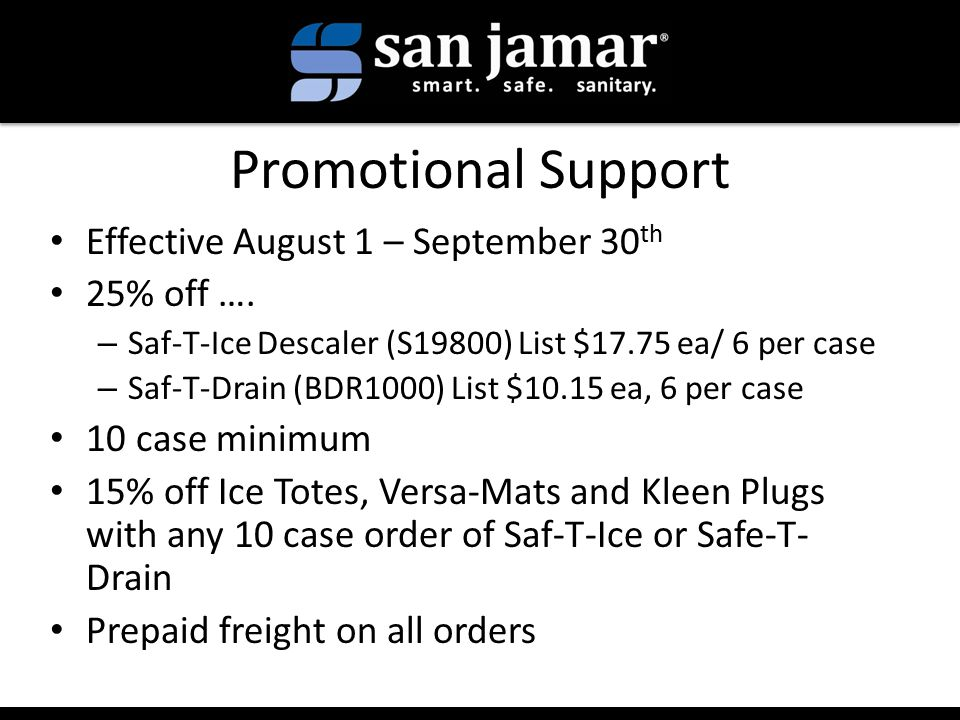 Promotional Support Effective August 1 – September 30 th 25% off ….