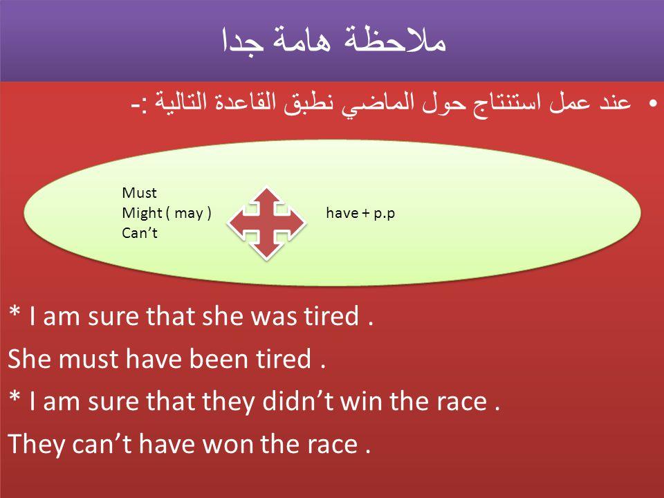 ملاحظة هامة جدا ملاحظة هامة جدا عند عمل استنتاج حول الماضي نطبق القاعدة التالية :- * I am sure that she was tired.