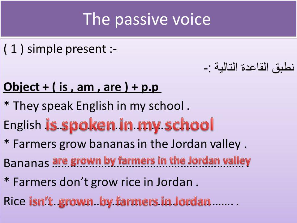 The passive voice The passive voice ( 1 ) simple present :- نطبق القاعدة التالية :- Object + ( is, am, are ) + p.p * They speak English in my school.
