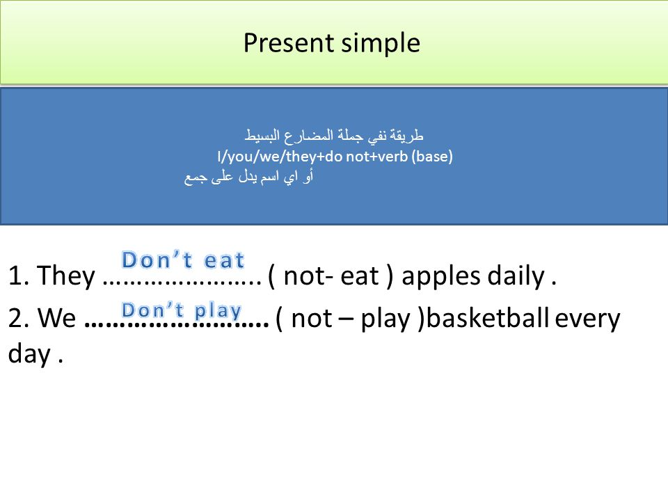 Present simple 1.They ………………….. ( not- eat ) apples daily.