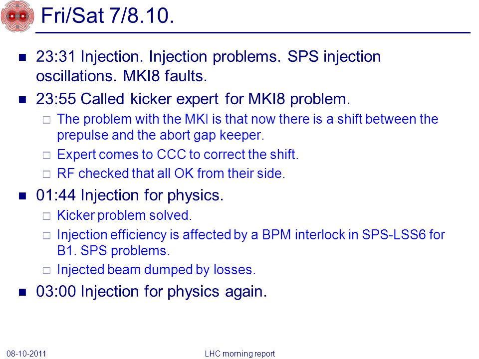 23:31 Injection. Injection problems. SPS injection oscillations.