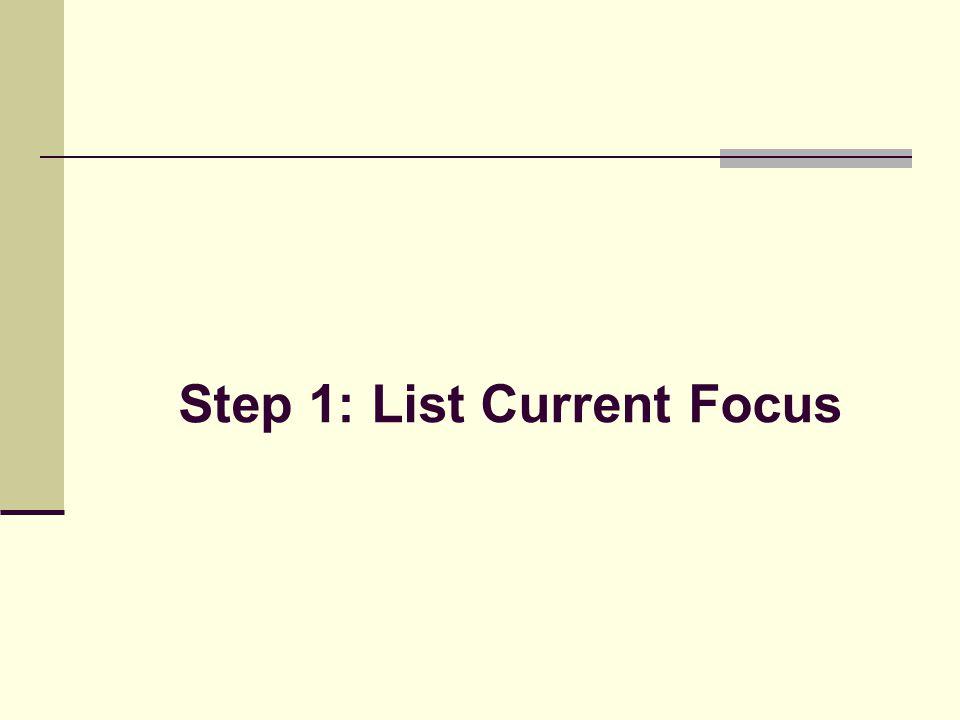 Step 1: List Current Focus