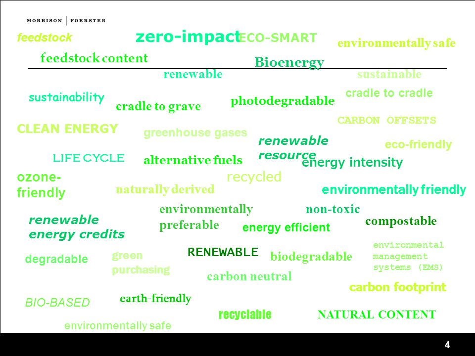 4 feedstock zero-impact feedstock content ECO-SMART eco-friendly sustainable sustainability renewable renewable resource life cycle recycled recyclable biodegradable degradable photodegradable compostable RENEWABLE BIO-BASED NATURAL CONTENT environmentally friendly earth-friendly ozone- friendly cradle to cradle cradle to grave CARBON OFFSETS renewable energy credits carbon neutral carbon footprint CLEAN ENERGY environmentally preferable environmentally safe naturally derived non-toxic energy intensity energy efficient Bioenergy greenhouse gases environmental management systems (EMS) alternative fuels green purchasing