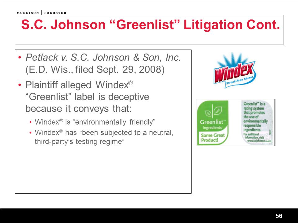 56 Petlack v. S.C. Johnson & Son, Inc. (E.D. Wis., filed Sept.