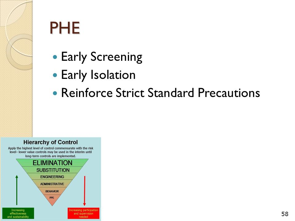 PHE Early Screening Early Isolation Reinforce Strict Standard Precautions 58