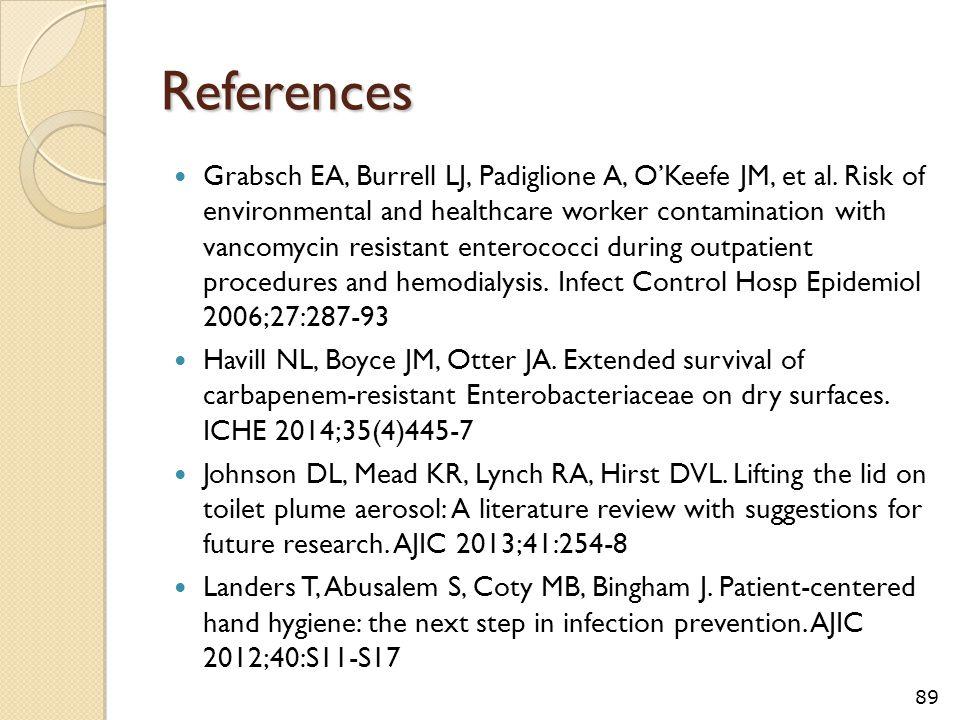 References Grabsch EA, Burrell LJ, Padiglione A, O'Keefe JM, et al. Risk of environmental and healthcare worker contamination with vancomycin resistan