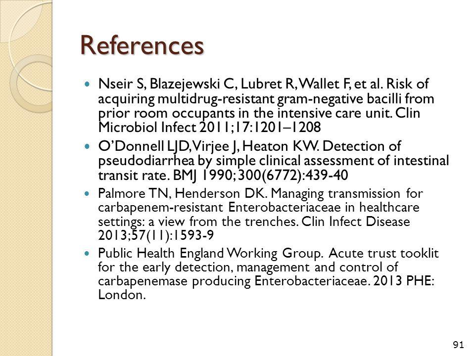 References Nseir S, Blazejewski C, Lubret R, Wallet F, et al. Risk of acquiring multidrug-resistant gram-negative bacilli from prior room occupants in