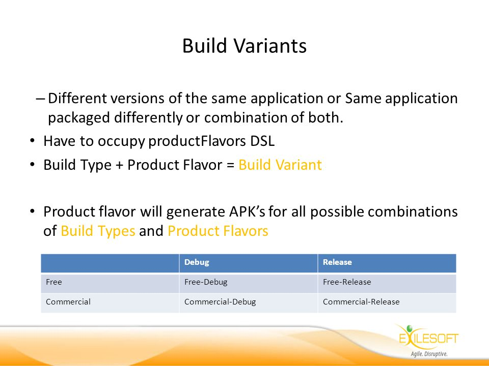 Build Variants – Different versions of the same application or Same application packaged differently or combination of both.