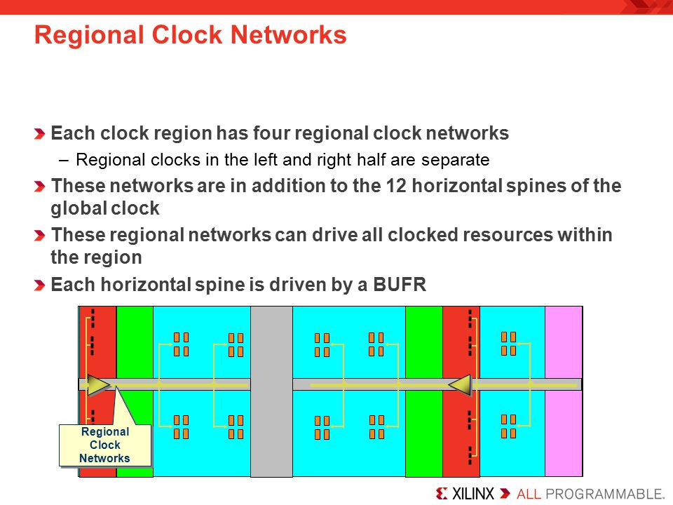 Regional Clock Networks Each clock region has four regional clock networks –Regional clocks in the left and right half are separate These networks are in addition to the 12 horizontal spines of the global clock These regional networks can drive all clocked resources within the region Each horizontal spine is driven by a BUFR Regional Clock Networks