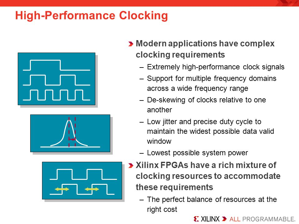 High-Performance Clocking Modern applications have complex clocking requirements –Extremely high-performance clock signals –Support for multiple frequency domains across a wide frequency range –De-skewing of clocks relative to one another –Low jitter and precise duty cycle to maintain the widest possible data valid window –Lowest possible system power Xilinx FPGAs have a rich mixture of clocking resources to accommodate these requirements –The perfect balance of resources at the right cost