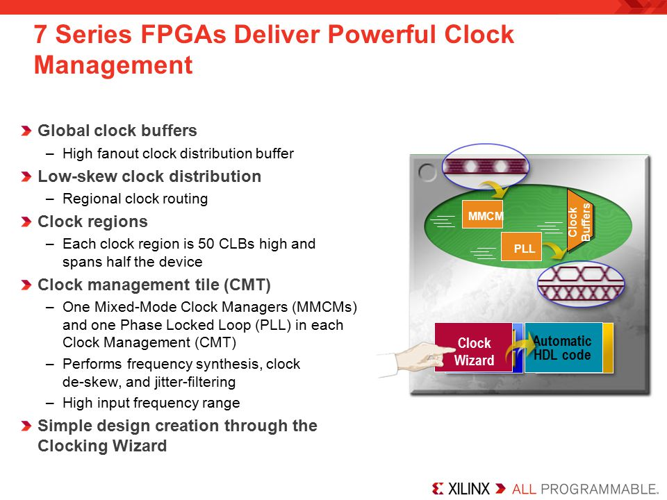 7 Series FPGAs Deliver Powerful Clock Management Global clock buffers –High fanout clock distribution buffer Low-skew clock distribution –Regional clock routing Clock regions –Each clock region is 50 CLBs high and spans half the device Clock management tile (CMT) –One Mixed-Mode Clock Managers (MMCMs) and one Phase Locked Loop (PLL) in each Clock Management (CMT) –Performs frequency synthesis, clock de-skew, and jitter-filtering –High input frequency range Simple design creation through the Clocking Wizard Clock Buffers MMCM PLL Clock Wizard Automatic HDL code
