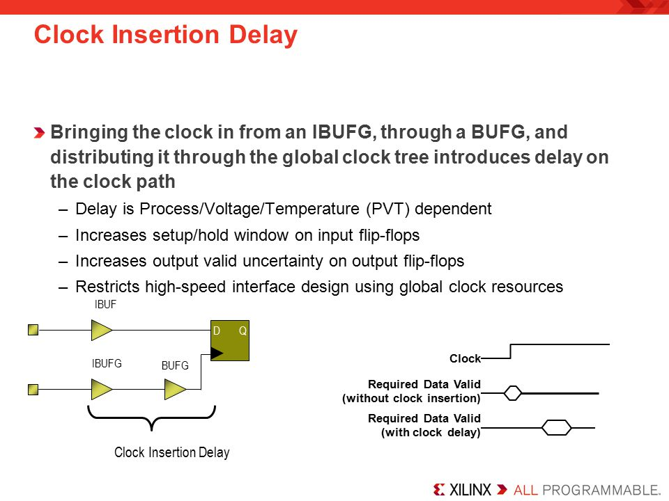 Clock Insertion Delay Bringing the clock in from an IBUFG, through a BUFG, and distributing it through the global clock tree introduces delay on the clock path –Delay is Process/Voltage/Temperature (PVT) dependent –Increases setup/hold window on input flip-flops –Increases output valid uncertainty on output flip-flops –Restricts high-speed interface design using global clock resources Clock Required Data Valid (without clock insertion) Required Data Valid (with clock delay) IBUFG BUFG IBUF D Q Clock Insertion Delay