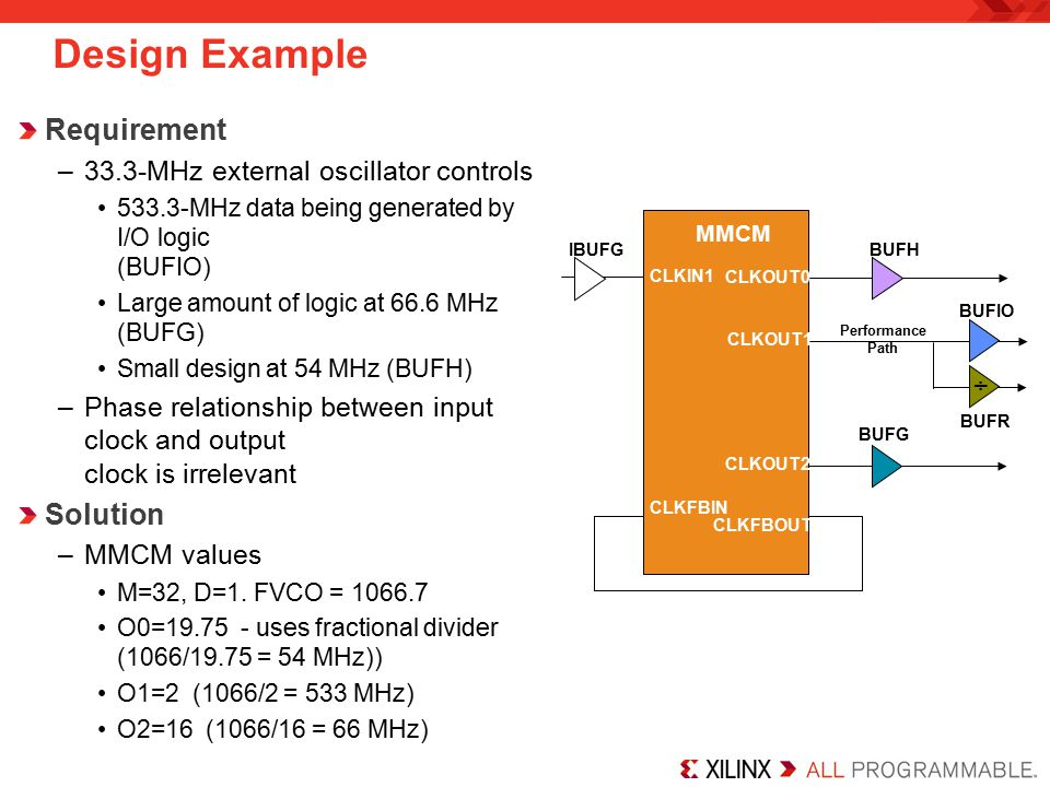 Design Example Requirement –33.3-MHz external oscillator controls 533.3-MHz data being generated by I/O logic (BUFIO) Large amount of logic at 66.6 MHz (BUFG) Small design at 54 MHz (BUFH) –Phase relationship between input clock and output clock is irrelevant Solution –MMCM values M=32, D=1.