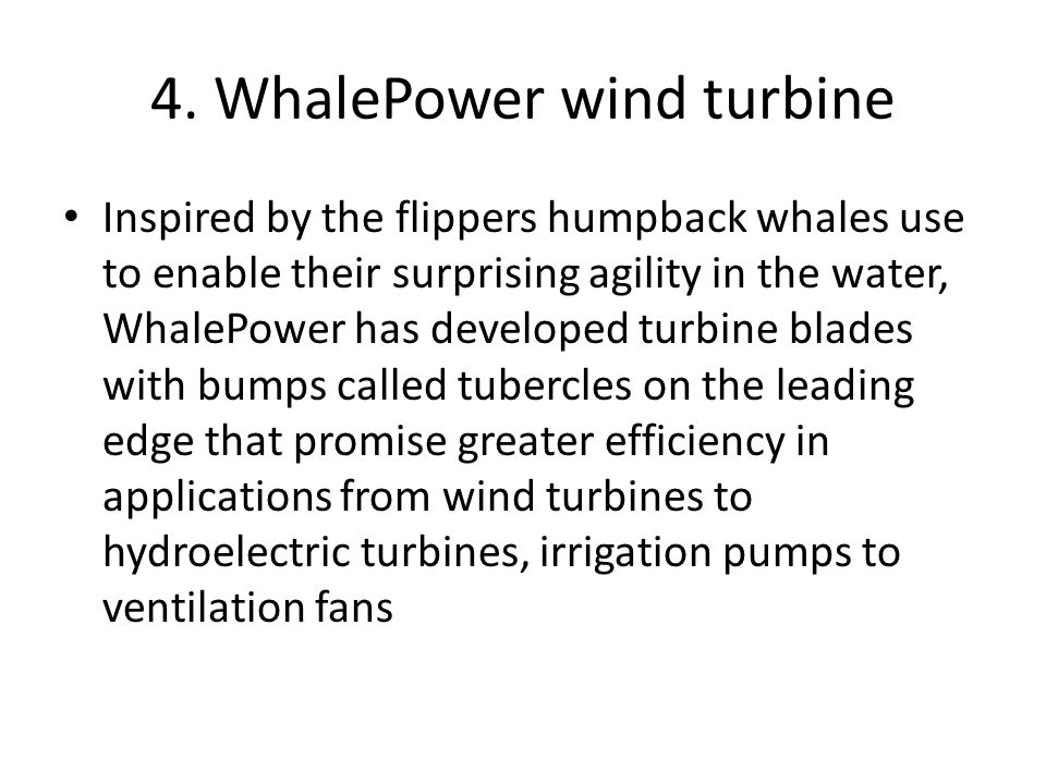 4. WhalePower wind turbine Inspired by the flippers humpback whales use to enable their surprising agility in the water, WhalePower has developed turb